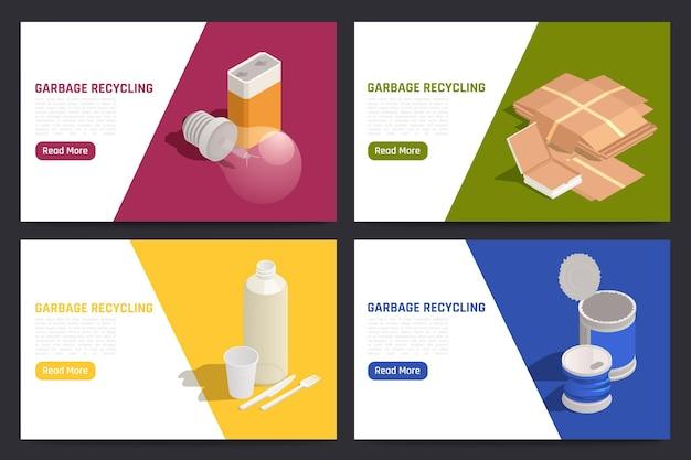 Banner web orizzontali per il riciclaggio dei rifiuti con informazioni sullo smistamento e la raccolta dell'illustrazione isometrica dei rifiuti