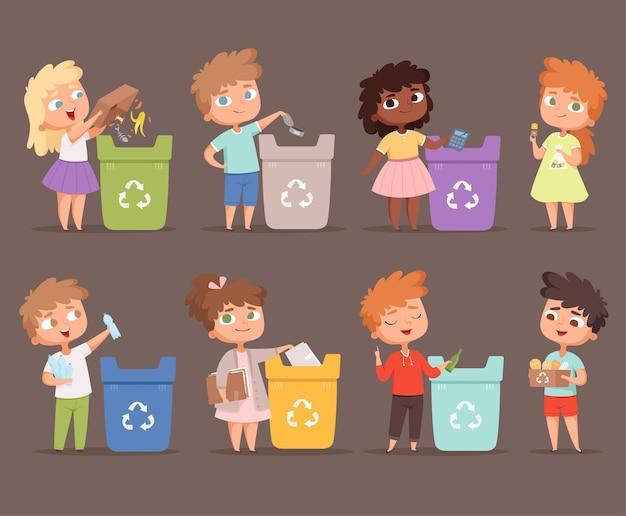 Riciclaggio dei rifiuti. i bambini proteggono il concetto di ecologia dell'ambiente salvare la natura raccogliendo carta in bidoni di persone.
