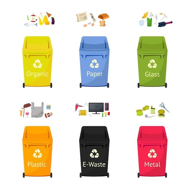 Set di illustrazioni piatte di bidoni per la raccolta dei rifiuti, pacchetto di clipart isolato di riciclaggio dei rifiuti su priorità bassa bianca. i cestini per plastica, vetro, materiali cartacei riutilizzano elementi di design dei cartoni animati
