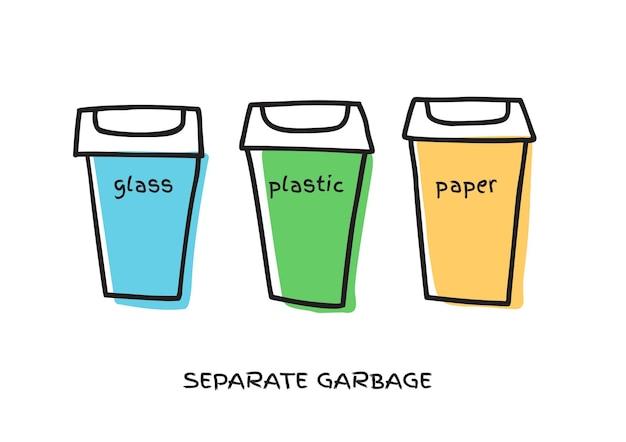 Concetto di smistamento della spazzatura bidoni della spazzatura per il riciclaggio di diversi tipi di rifiuti doodle illustrazione vettoriale isolato su sfondo bianco