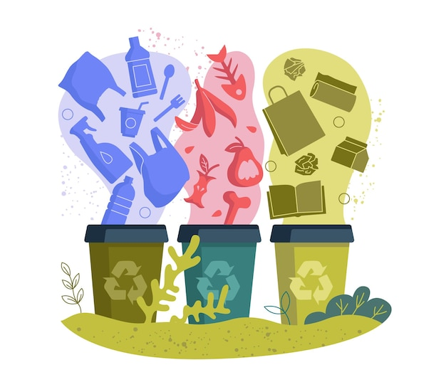 Contenitori per lo smistamento dei rifiuti e concetto di gestione dell'utilizzo dei rifiuti carta plastica e rifiuti organici