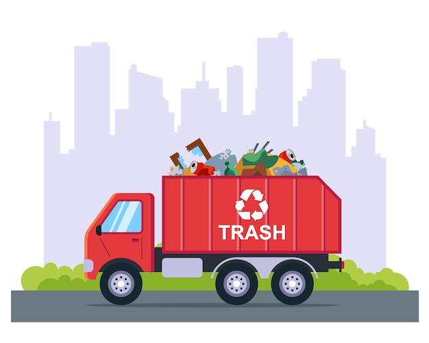Camion della spazzatura in città