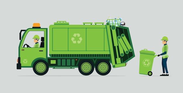 Autista di camion della spazzatura e cestino con sfondo grigio