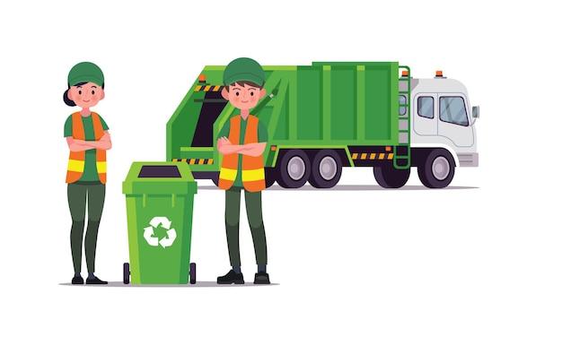 Camion della spazzatura e operaio di servizi igienico-sanitari isolato su bianco