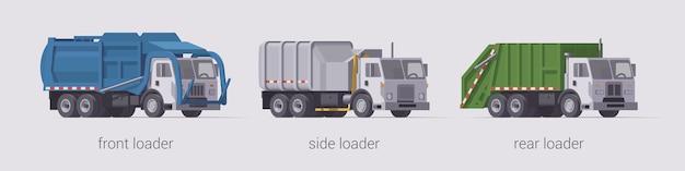 Set di camion della spazzatura. caricatore frontale caricatore laterale e caricatore posteriore. illustrazione isolata. collezione