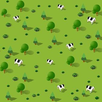 Proiezione di vista verde del paesaggio forestale isometrica del parco delle mucche del giardino