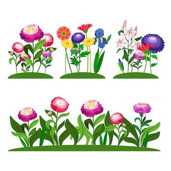 Composizione di fiori da giardino. peonia, lilly, margherita con foglie verdi