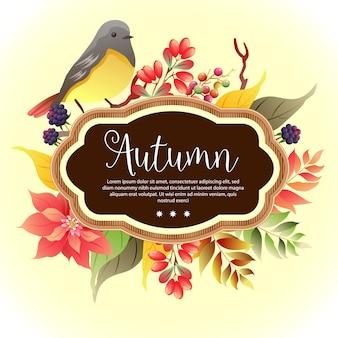 Birdsong di autunno del modello del fogliame del giardino
