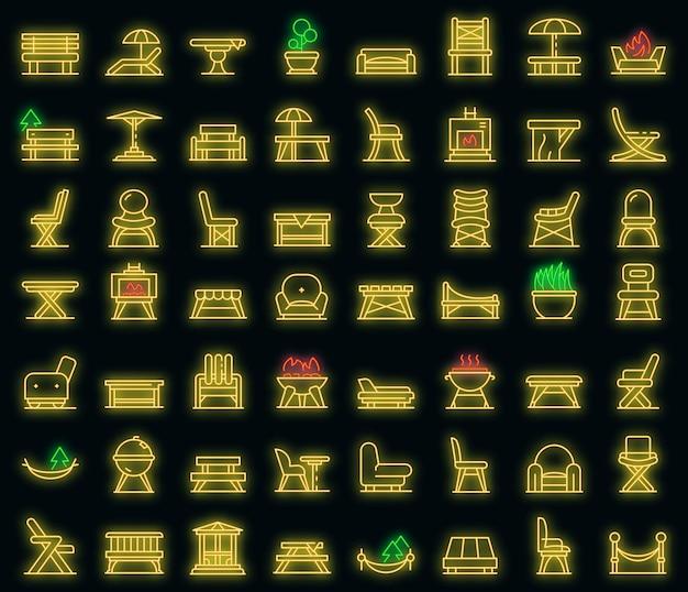 Set di icone di mobili da giardino. contorno set di icone vettoriali mobili da giardino neoncolor su nero
