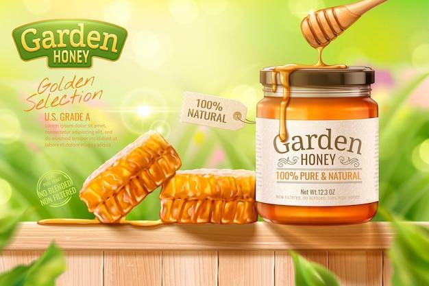 Miele di giardino con mestolo e orticaria