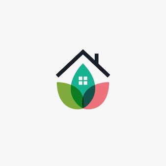Giardino casa logo modello design agricoltura logotipo chalet icona astratta petalo o foglie casa eco