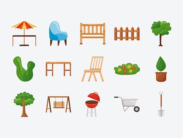 Collezione di icone da giardino su sfondo verde
