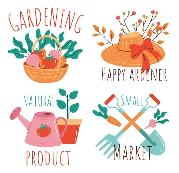 Insieme di elementi di design isolato emblema del marchio del logotipo dell'etichetta del giardino