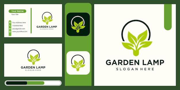 Lampada da giardino logo illustrazione vettoriale design lanterna lampadina simbolo farm innovativa logo moderno template