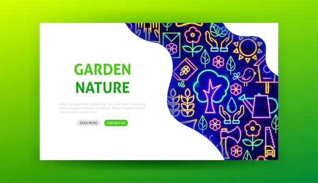 Pagina di destinazione al neon della natura del giardino. illustrazione vettoriale di promozione di primavera.