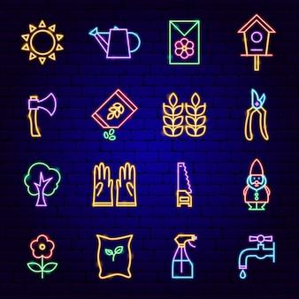 Icone al neon del giardino. illustrazione vettoriale di promozione della natura.