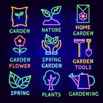 Set di etichette al neon da giardino. illustrazione vettoriale di promozione della natura.