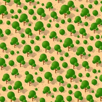 Proiezione di vista verde del paesaggio forestale isometrica del parco del giardino