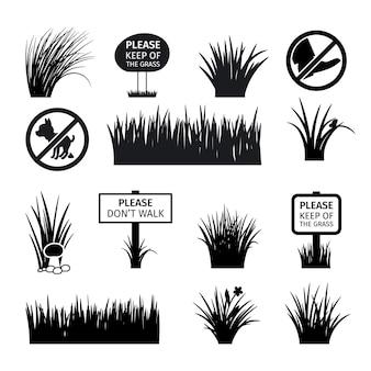 Segnali da giardino o parco. non rovinare le icone di sagome di erba, prati e prati. illustrazione vettoriale