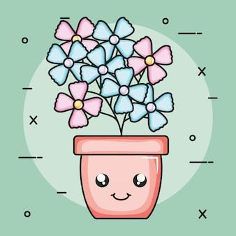 Pianta da giardino in vaso kawaii