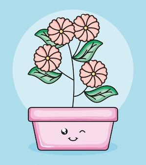 Pianta da giardino in vaso quadrato carattere kawaii