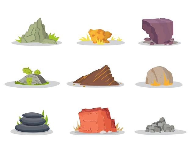 Giardino rocce e pietre singole o ammucchiate per danni. illustrazione gioco arte architettura. set di massi