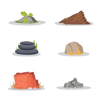 Giardino rocce e pietre singole o ammucchiate per danni. illustrazione gioco arte architettura design. set di massi