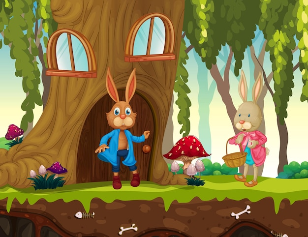Scena del giardino con molti personaggi dei cartoni animati di conigli