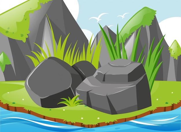 Scena del giardino con rocce e fiume
