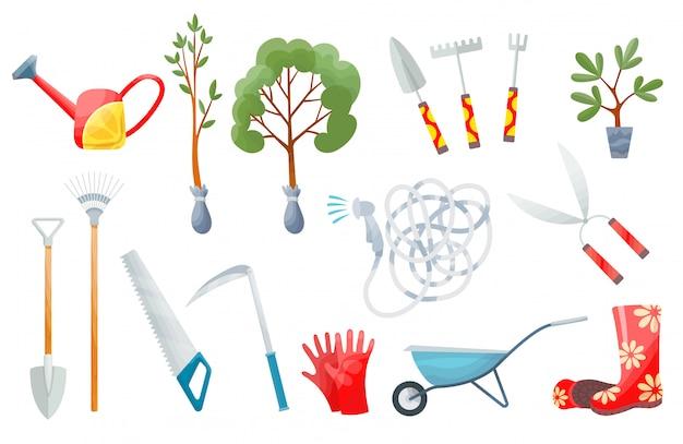 Set da giardino insieme di vari strumenti agricoli per cura del giardino, illustrazione piana di vettore variopinto. elementi da giardinaggio vanga, forca, carriola, piante, annaffiatoio, erba, guanti da giardino