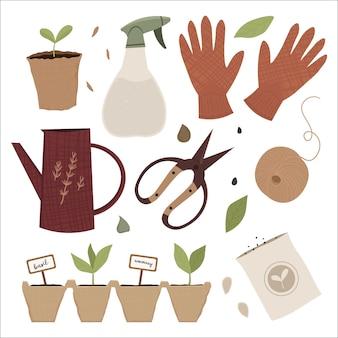 Illustrazione del set di attrezzi da giardino