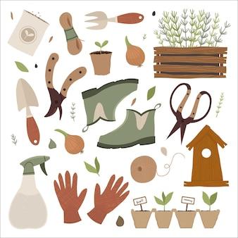 Illustrazione del set di attrezzi da giardino Vettore Premium