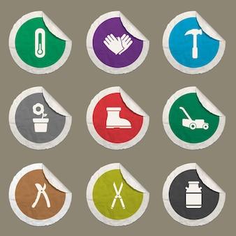 Set di icone per attrezzi da giardino per siti web e interfaccia utente