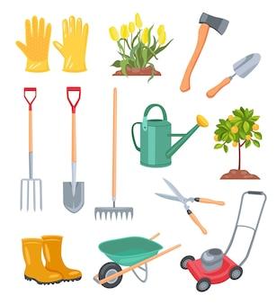 Illustrazione di attrezzi da giardino