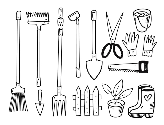 Set di attrezzi da giardino. illustrazione di doodle. colore nero. isolato su sfondo bianco