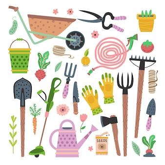 Set di attrezzi da giardino. collezione di attrezzatura da giardinaggio piatta