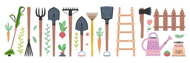 Set di attrezzi da giardino. collezione di attrezzature da giardinaggio piatto vettoriale