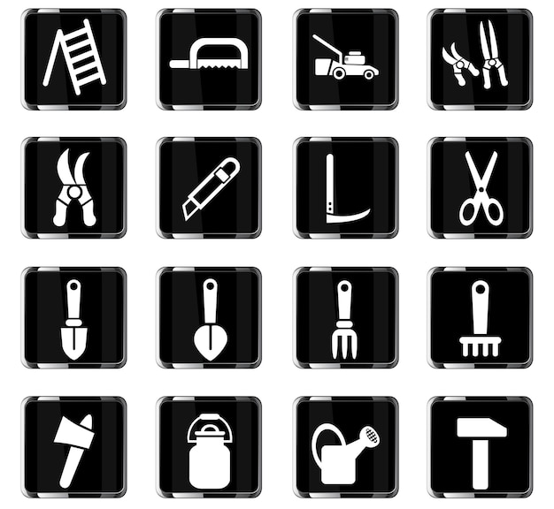 Icone web di attrezzi da giardino per la progettazione dell'interfaccia utente