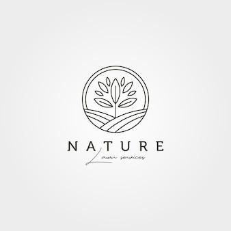 Disegno dell'illustrazione del simbolo di vettore del logo del paesaggio dell'albero del giardino, disegno del logo della natura di linea arte