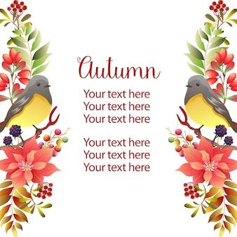 Canto d'uccello di autunno del modello verticale del confine del giardino