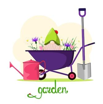 Una carriola da giardino con fiori e uno gnomo oggetti da giardino dal design piatto