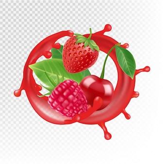Giardino e frutti di bosco. spruzzata di succo realistico, lampone, fragola, ciliegia isolato su sfondo trasparente
