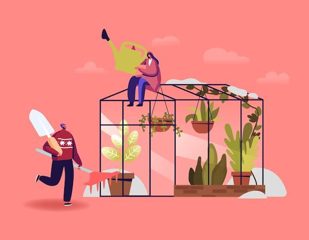 Caratteri del giardiniere o dei botanici che lavorano nell'illustrazione del giardino d'inverno