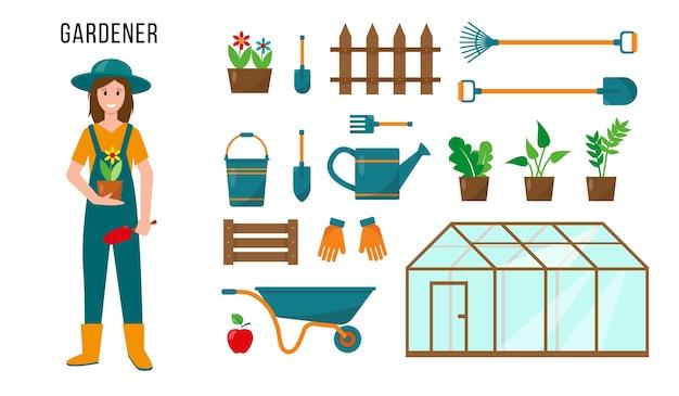 Personaggio femminile giardiniere e set di attrezzi da giardinaggio per il suo lavoro. concetto di persone di professione.