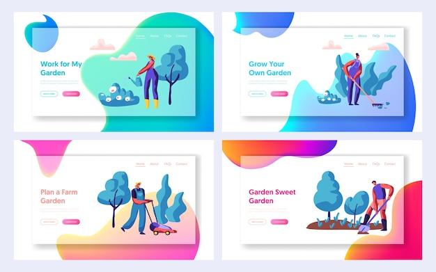 Giardiniere che pianta albero e cespuglio set pagina di destinazione.