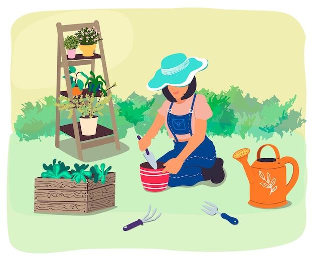 Il giardiniere trapianta piante e fiori in giardino. illustrazione vettoriale