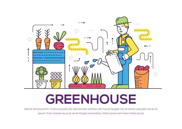 Giardiniere che innaffia le piante nel concetto del profilo della serra