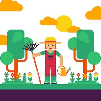 Giardiniere con rastrello e annaffiatoio