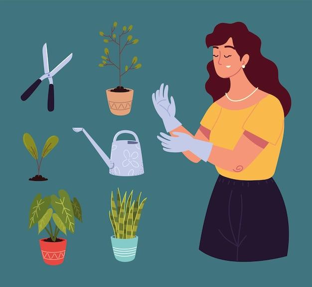 Giardiniera donna e attrezzi