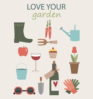 Attrezzatura da giardiniere set di oggetti necessari per il giardinaggio rilassante guanti da vino occhiali da sole alla mela